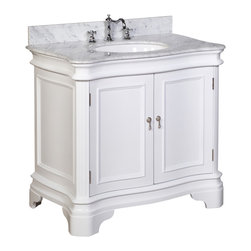 Kitchen Bath Collection - Katherine 36-in Bath Vanity (Carrara/White) - This bathroom vanity set by Kitchen Bath Collection includes a white cabinet, Italian Carrara marble countertop with stunning beveled edges, undermount ceramic sink, pop-up drain, and P-trap. Order now and we will include the pictured three-hole faucet and a matching backsplash as a free gift! All vanities come fully assembled by the manufacturer, with countertop & sink pre-installed.