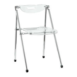 Modway - Telescope Folding Chair in Clear - A combination of convenience and comfort, the Telescoping Chair offer many desirable features. The back tilts to support you, even when you are reclining. For storage, the chair's telescoping legs allow you to effortlessly fold the chair down to a compact storage size. Ultra modern and attractive, these chairs are not only a smart choice, they are a stylish one as well.