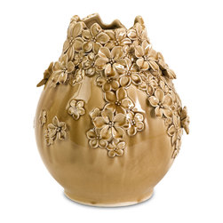 iMax - Small Winifred Flower Vase - A muted yellow finish glazes the surface of the small winifred flower vase. Rich golden tones add depth to the hand-applied flower appliques delicately gracing the vase's surface.