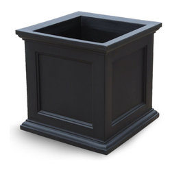 Oxford Square Planter - Black, Small - The Oxford Planter offers high grade commercial quality with a touch of class and charm. Beautifully detailed, this durable patio planter is ideal for defining borders around terraces or patios, creating an effect that leaves a lasting impression. Made from high grade polythylene, built in UV inhibitors and backed by a 5 year warranty, this planter will last as long as its design. Choose from 5 colors and 2 sizes!