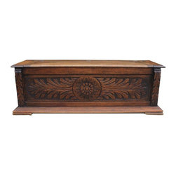 """Pre-owned Dutch Hand Carved Oak Storage Chest - This low oak chest follows the tradition of the hope chest or """"glory box"""" which often held handmade dowry items. The chest has a traditional hand-carved Dutch floral design and a nice patina. This piece is perfect for storage and/or to sit on at the foot of a bed."""