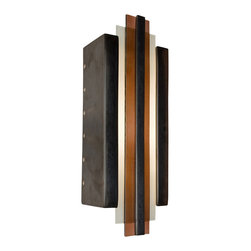 A19 - Empire Wall Sconce Gunmetal and Rosewood - The sleek and studious lines of this Art Deco inspired piece add a touch of modern opulence to any space. The rectangular ceramic base frames two panes of layered art glass and is topped with a ceramic strip at the very center. Light washes the wall through the open top and bottom in addition to circular perforations along the back edge of both sides creating a radiant effect. The glaze finishes enhance the piece further with a richness and unique depth of color.