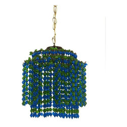 """Pre-owned Two-Tiered Green & Blue Beaded Pendant Lamp - Once a swag light and now an ultra cool pendant light, let this memorable piece illuminate your space! Comprised of green and blue beads and a brass chain, it would look swell in an office, nursery, dining room, or bedroom. It's been rewired and is in good working condition.    33"""" in. chain  13"""" in. width  13"""" in. length"""