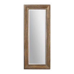 Uttermost - Filiano Wood Floor Mirror - Lean this gorgeous mirror against a wall, but make sure you like the view. A casual, classy mirror propped against a wall says you're completely sure of your taste and style. The gold leaf finish with light gray wash and the generous bevel speaks volumes ... so you don't have to.
