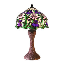 Warehouse of Tiffany - Iris Table Lamp - 2 Pull chain. Requires two 60W bulbs . Combination of Blue, pinkish White iris and Green leaves. Has more than 200 pcs. of cut glass. Each glass is individually cut wrap around copper foil and soldered together. Minimal assembly required. 15 in. L x 15 in. W x 23 in. H (10 lbs.)Tiffany Style Iris Table Lamp has combination of Blue, pinkish White iris and Green leaves.  It has more than 200 pcs. of cut glass individually cut wrap around copper foil and soldered together.