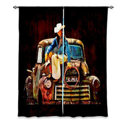 "DiaNoche Designs - Window Curtains Unlined by Lisa K Stokes - Old School Cowgirl - Purchasing window curtains just got easier and better! Create a designer look to any of your living spaces with our decorative and unique ""Unlined Window Curtains."" Perfect for the living room, dining room or bedroom, these artistic curtains are an easy and inexpensive way to add color and style when decorating your home.  This is a tight woven poly material that filters outside light and creates a privacy barrier.  Each package includes two easy-to-hang, 3 inch diameter pole-pocket curtain panels.  The width listed is the total measurement of the two panels.  Curtain rod sold separately. Easy care, machine wash cold, tumbles dry low, iron low if needed.  Made in USA and Imported."