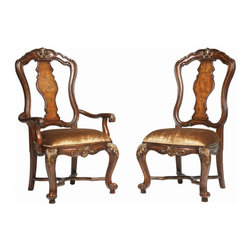 Hooker Furniture - Hooker Furniture Beladora Wood Urn Back Dining Arm Chairs - Set of 2 Multicolor - Shop for Dining Chairs from Hayneedle.com! Adorn your dining room with the tasteful opulence of the Beladora Wood Urn Back Dining Arm Chairs - Set of 2. These two regal beauties are sure to reign king and queen in your dining room with their graceful shape ornate carving on both the crown and the seat and their rich upholstering. Gold highlights glimmer against a distinctive caramel finish while the classic urn shape on the back is a true statement of traditional style.These chairs are built to last a lifetime with frames constructed from hardwood solids with maple and walnut veneers. Add rich golden upholstery and timeless style and you've got a pair that's ready to rule the dining room for decades to come. So invite your family over and have a feast worthy of a king.Not available for sale in or delivery to the state of California.About Hooker Furniture CorporationFor 83 years Hooker Furniture Corporation has produced high-quality innovative home furnishings that seamlessly combine function and elegance. Today Hooker is one of the nation's premier manufacturers and importers of furniture and seeks to enrich the lives of customers with beautiful trouble-free home furnishings. The Martinsville Virginia based company specializes in lifestyle driven furnishings like entertainment centers home office furniture accent tables and chairs.Construction of Hooker FurnitureHooker Furniture chooses solid woods and select wood veneers over wood frames to construct their high-quality pieces. By using wood veneer pieces can be given a decorative look that can't be achieved with the use of solid wood alone. The veneers add beautiful accents of color and design to the pieces and are placed over engineered wood product for strength. All Hooker wood veneers are made from renewable resources and are located primarily on the flat surfaces of the furniture such as the case tops and sides.Each Hooker furniture piece is finished using up to 30 different steps including 13 steps of hand-sanding and accenting. Physical distressing is done by hand. Pieces receive two to three coats of solid lacquer to create extra depth and add durability to the finish. Each case frame is assembled using strong mortise-and-tenon joints which are then reinforced by mechanical fasteners and glue. On most designs end panels extend to the floor to add strength and stability. Panel-style furniture features strong panel and frame construction to help avoid warping.Your Hooker furniture features finished case interiors to eliminate unsightly raw wood and to help protect items you may store inside drawers or cabinets. Drawer parts are given a urethane or lacquer finish to create smooth action and durability. All drawers use dovetails either English or French for years of problem-free use. Drawer bottoms are constructed from plywood and attached to the plywood drawer sides via the use of hot glue and/or wood glue blocks. Most drawers are full width depth and height to provide the maximum amount of storage space.