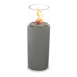 Paramount - Tall Fire Column - This decorative gel fuel Fire Column is the ideal centerpiece for outdoor summer entertaining. Handmade of a cement/stone compound and accompanied with decorative river rocks it burns 100% clean and odorless. Paramount EcoLogo gel fuel sold separately. This beautiful garden burner has double walled tempered glass for long lasting durability. Can be used on any flat surface and can be easily extinguished using the included snuffer tool.