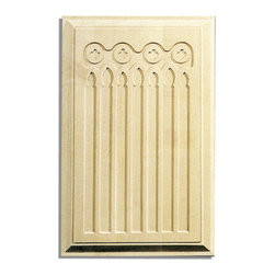 "Inviting Home - Melora cherry door panels m325 - hand-carved wood door panels; 13-1/2""W X 21-1/4""H x 1-1/16""D Wood panels are hand carved from premium selected hardwoods: hard maple cherry and white oak. Panels are carved in deep relief design to achieve the highest degree of quality and details. Carved wood panels are triple sanded ready to accept stain or paint. These wood panels are perfect for wall applications cabinet doors finishing touches on the custom cabinets."