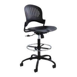 Safco - Safco Zippi Plastic Extended-Height Chair in Black - Safco - Office Chairs - 3386BL - About This Product: Add a little zip to every workday! Time sure flies when comfort and working needs can be met! The Zippi Plastic Extended-Height Chair perfectly exceeds the demands of any extended-height job that needs to be done. The Black plastic seat and back are accented with a Black powder coat frame. Zippi features an adjustable Chrome footring and swivel tilt mechanism with tilt tension and tilt lock. Now isn't it time to start zipping through your workday?