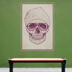 My Wonderful Walls - Cool Skull Wall Decal Sticker by Balázs Solti, Small - - Product:  skull with hipster cap and glasses wall sticker decal