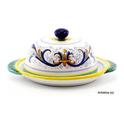"Artistica - Hand Made in Italy - Ricco Deruta: Round Cheese Dish with Lid - This is the true original version of the most celebrated Deruta's design, which traces its origins to the sixteenth century; the renown ""Ricco Deruta""."