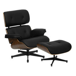 Flash Furniture - Hercules Presideo Top Grain Black Italian Leather Lounge Chair and Ottoman Set w - This timeless piece of art will be the staple in your office with its modern classic design. The Presideo Lounge will coordinate in any office or home environment. You will definitely feel the comfort with the lounge and ottoman combination. The rich laminate wood frame contrasts beautifully against the top grain black leather upholstery to appeal to everyone.
