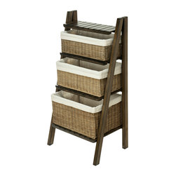 KOUBOO - Ladder Shelf with Wicker Baskets - 20 inches wide x 16 inches deep x 39 inches high.