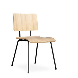 Gus Modern - School Chair set of 2, Natural Oak Veneer - School Chair by Gus Modern. A modern reinterpretation of the classic elementary school chair. Features a bent-ply seat and back which are fastened to the frame with rubber gaskets, which provide durability and add a functional aesthetic. Powder coated steel frame, bent ply.