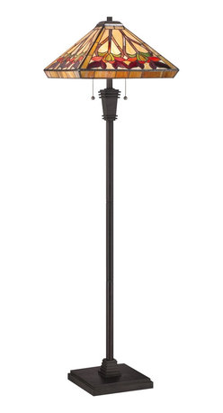 Quoizel - Quoizel TF1509FVB Ross Tiffany Floor Lamp - Elegant Tiffany style is a timeless staple of home decor.  The various designs are handassembled using the copper foil technique developed by Louis Comfort Tiffany.  With an enormous variety of colors and patterns to choose from, Quoizel Tiffany�۪s have become more popular than ever.