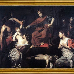 """Valentin De boulogne-16""""x20"""" Framed Canvas - 16"""" x 20"""" Valentin De boulogne The Judgment of Solomon framed premium canvas print reproduced to meet museum quality standards. Our museum quality canvas prints are produced using high-precision print technology for a more accurate reproduction printed on high quality canvas with fade-resistant, archival inks. Our progressive business model allows us to offer works of art to you at the best wholesale pricing, significantly less than art gallery prices, affordable to all. This artwork is hand stretched onto wooden stretcher bars, then mounted into our 3"""" wide gold finish frame with black panel by one of our expert framers. Our framed canvas print comes with hardware, ready to hang on your wall.  We present a comprehensive collection of exceptional canvas art reproductions by Valentin De boulogne."""