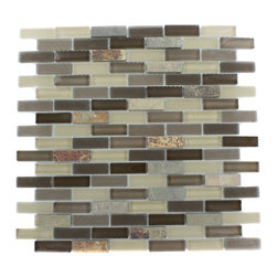 "Geological Brick Multicolor Slate & Khaki Blend Glass Tiles - Geological Multicolor Slate + Khaki Blend Tiles 1/2 x 2 This striking brick design has a combination of multicolor slate, khaki, beige and brown glass. These tiles are mesh mounted and will bring a sleek and contemporary clean design to any room. Chip Size: 1/2"" x 2"" Color: Multicolor, Khaki, Beige and Brown Material: Slate and Glass Finish: Frosted and Polished Sold by the Sheet - each sheet measures 12""x12x (1 sq. ft.) Thickness: 8mm"