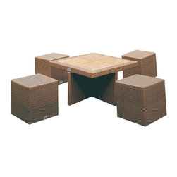 7009 Patio Dining Set - Natural rattan dining set. Set includes four cubes and a table with teak wood top.