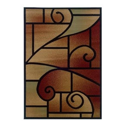 """LR Resources - Indoor Area Rug: Contemporary Black and Green Rectangle 5' 3"""" x 7' 5"""" Plush - Shop for Flooring at The Home Depot. Strong Black Outline of Geometrics and Swirls Frames a Soft Ombre Background, Reminiscent of Stained Glass Windows. 100% Luxurious Heat-Set Olefin. Naturally Stain and Fade Resistant."""