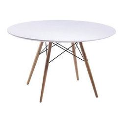 """Fine Mod Imports WoodLeg Dining Table 42"""" Fiberglass Top, White - The Woodleg Dining Table is a truly comfortable Table, it is supported by an elegant Wood/Wire Base."""