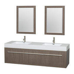 Wyndham Collection - 72 in. Double Bathroom Vanity in Gray Oak, Acrylic, Resin Countertop, Integrated - The bold ultra-modern and visually stunning design of the Axa wall-hung vanity makes a powerful statement while incorporating generous counter space and storage for bath items. The one of a kind styling ensures a high-end look at a very reasonable price and brings an element of contemporary sophistication to a fabulous bathroom remodel. Satin Chrome accents finish the look - it's quite remarkable, and all the more so in person.