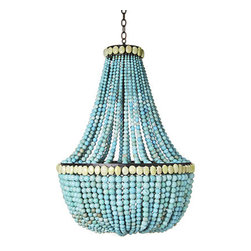 Marjorie Skouras Turquoise Chandelier - I've long been in love with this chandelier for use in a kitchen, either above an island or a dining table.  For a warmer, more elegant look than some of the traditional kitchen pendant lights, and a healthy splash of color.  Don't be afraid of adding a few brighter hues to elevate your kitchen from the ho-hum land of white and chrome.