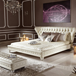 White Bedroom Set (bed and bench) - Set includes Bed and Bench. The headboard and bench features a button tufted design, decorative elements on the frame and classic wooden legs in white color. This Bed available in Queen and King Sizes.