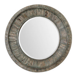 """Gattola Round Mirror - Frame Is Lightly Stained Wood Finished In A Sage Gray Wash With Lighter Gray Accents. Mirror Features A Generous 1 1/4"""" Bevel."""