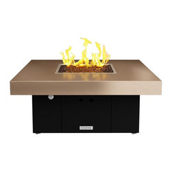 COOKE - Santa Barbara Square Fire Pit - Black Base, Beige Top, Bronze Base, Natural Gas - We know it is hard to find that big bold look at a small price point and still have a quality product so we took styling from our designer collection and brought it to our So Cal line so we could offer just that!