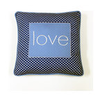 Simplicity Blue - Decorative Pillow - Love - LIVE, LAUGH and LOVE with One Grace Place decorative throw pillows offered in all Simplicity Collections!  Made to accent any and all rooms. Pillows are designed with One Grace Place signature cotton fabrics and trimmed with welting in solid coordinating fabric.  Pillows match with all canvas art sets in these collections.  What a fun addition to any room!