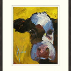 Yellow Cow - This striking Giclee on Paper print adds subtle style to any space. A beautifully framed piece of art has a huge impact on a room for relatively low cost! Many designers and home owners select art first and plan decor around it or you can add artwork to your space as a finishing touch. This spectacular print really draws your eye and can create a focal point over a piece of furniture or above a mantel. In a large room or on a large wall, combine multiple works of art to in the same style or color range to create a cohesive and stylish space! This striking image is beautifully framed in rich espresso.