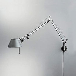 """Artemide - Artemide Tolomeo Micro wall sconce - The Tolomeo micro wall sconce fromArtemide has been designed by Michele De Lucchi and Giancarlo Fassina. This wall mounted luminaire is great for adjustable direct task incandescent lighting. The Tolomeo is composed of polished die-cast aluminum with the diffuser in stamped anodized matte aluminum fully rotatable 360 degrees. The Tolomeo micro wall sconce exhibits a classic and ingenuitive design, along with quality craftsmanship, that is sure to beautifully and pratically brighten any setting. UL listed.  Product Description   The Tolomeo micro wall sconce fromArtemide has been designed by Michele De Lucchi and Giancarlo Fassina. This wall mounted luminaire is great for adjustable direct task incandescent lighting. The Tolomeo is composed of polished die-cast aluminum with the diffuser in stamped anodized matte aluminum fully rotatable 360 degrees. The Tolomeo micro wall sconce exhibits a classic and ingenuitive design, along with quality craftsmanship, that is sure to beautifully and pratically brighten any setting. UL listed The Tolomeo Micro features the switch on the cord. While hardwired, this fixture can only be controlled by a wall switch!  Which wall mount should i choose ?   Choose the S- bracket when you would like to get a cord and plug your Tolomeo into an wall outlet.    Choose the J bracket when you would like to mount your fixture on a  junction box.- J-Bracket version does not have an off/on switch   Details:     Manufacturer:  Artemide   Designer:  Michele De Lucchi and Giancarlo Fassina   Made in: Italy   Dimensions:   Height: 19 5/16"""""""" (49cm) X Width: 16 1/8"""""""" (41 cm)     Light bulb:   1 X 60W incandescent      Material  aluminum"""