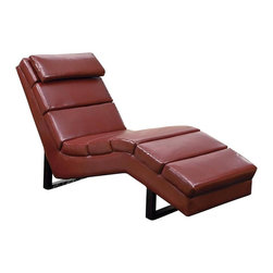 Monarch Specialties - Monarch Specialties 8909 Chaise Lounger in Red Leather - This modern red bonded leather chaise lounger will make a wonderful addition to your living room. Its contemporary style enhances any room with its rectangular shaped and exquisitely cushioned seating. Stretch out after a long day of work and relax your head on its padded head rest.  The chic design creates an inviting feel, and the solid feet provide sturdy support this piece.