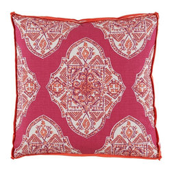 "Lacefield Designs - Malta Mulberry Pillow by Lacefield Designs - The dynamic color combination of deep berry and hot lava combined with a Moroccan pattern is a vibrant work of art. Mix and match with other pillows for a one-of-a-design statement. (LD) 24"" square feather down fill"
