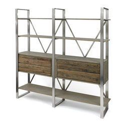 Colgan Bookshelf - This spacious Colgan Bookshelf is a perfect match of style and elegance. This bookshelf is constructed with wood mingled with iron and exhibits a natural finish. It will enhance the beauty of your room decor.