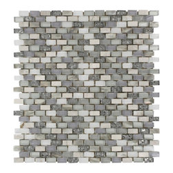 "GlassTileStore - Paragon Moon Jewel Mini Brick Pattern  Tile - Paragon Moon Jewel Mini Brick Pattern Glass Tile          This captivating combination of pearl, glass and stone tile is artfully arranged in a classic brick pattern. The pearl shell glass will add a durability and lasting exquisiteness to your kitchen, bathroom, or fireplace installation. These tiles are mesh mounted and will bring a sleek and contemporary clean design to any room.         Chip Size: 3/8"" x 5/8""   Color: White, Lavender, Metallic Pewter and Beige   Material: Pearl Shell Glass, Glass and Woodvein Beige   Finish: Polished   Sold by the Sheet - each sheet measures 11 1/2""x12"" (.96 sq. ft.)   Thickness: 8mm            - Glass Tile -"