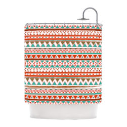 "Kess InHouse - Nika Martinez ""Boho Mallorca"" Red Multicolor Shower Curtain - Finally waterproof artwork for the bathroom, otherwise known as our limited edition Kess InHouse shower curtain. This shower curtain is so artistic and inventive, you'd better get used to dropping the soap. We're so lucky to have so many wonderful artists that you'll probably want to order more than one and switch them every season. You're sure to impress your guests with your bathroom gallery in addition to your loveable shower singing."