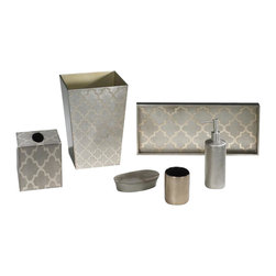 Belle & June - Arabesque Espresso/Coffee Bath Set - Elevate your bathroom and invite a few museum pieces in. Admire the clean, sculpted lines and the detailed craftsmanship of this bath set. Each set takes 100 days to create and the espresso finish is exquisite. Food friendly, feel free to press the trays into service in the dining room.