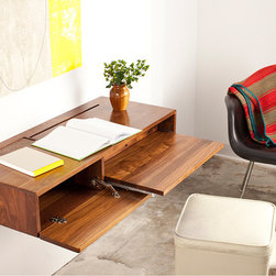 Urbancase - Urbancase Ledge Desk/Side Table - Urbancase - Designed by Darin Montgomery and Trey Jones for Urbancase, the award winning Ledge maintains a compact profile while providing a pullout work station and storage cubby. A cord management area accommodates a full size power strip and is concealed with a felt lined pencil tray while the cord routing slot reduces clutter on the desktop. When the Ledge is not in use, the drop down door folds up to hide the work area.