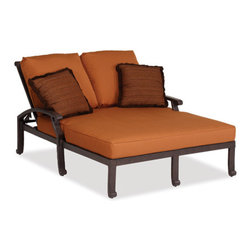Thos. Baker - newport double chaise w/ cushion - The newport collection features heavy gauge wrought aluminum in a Mediterranean bronze finish. Plush Sunbrella® double-piped cushions included in all seating items.