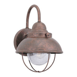 Seagull - Seagull Outdoor Sebring Outdoor Wall Mount Light Fixture in Weathered Copper - Shown in picture: 8870-44 Single-Light Sebring Wall Lantern in Weathered Copper finish with Clear Seeded'Glass