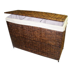 America Basket - 3-Section Woven Maize Hamper in Walnut Finish w Full Load Liner - With sections that will allow you to separate laundry as you place it in the hamper, this woven maize unit will be a versatile addition to a bedroom or laundry room. Finished in rich walnut with a steel frame, the hamper is lined with cream fabric and will help your home stay organized and orderly. Versatile, handcrafted woven maize 3-section hamper. Built with a knock-down design for easy storage and transport. Decorative accessories will add warmth and style to your home decor. Ideal choice for a flexible and stylish laundry solution. Designed to hold a full load of laundry. Decorative maize hamper features a Rich Walnut color. Made of high-quality maize with a metal frame for strength and durability. 36 in. L x 14 in. W x 26 in. H (20 lbs.)