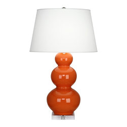 "Robert Abbey - Contemporary Robert Abbey Pumpkin Triple Gourd Ceramic Buffet Lamp - This beautiful triple gourd base ceramic buffet lamp will brighten up your home with contemporary style. Finished in a brilliant pumpkin orange glaze with a square clear lucite stand below that plays off the soft pearl dupioni fabric shade. A vibrant design from Robert Abbey. Pumpkin finish ceramic. Lucite base. Pearl dupioni fabric shade. Takes one 150 watt 3-way bulb (not included). 33"" high. Shade is 15 1/2"" across the top 20"" across the bottom and 12 1/2"" high. Base is 6 3/4"" square.  Pumpkin finish ceramic.  Lucite base.  Pearl dupioni fabric shade.  Part of the Robert Abbey lighting collection.  Made in USA.  Takes one 150 watt 3-way bulb (not included).  33"" high.  Shade is 15 1/2"" across the top 20"" across the bottom and 12 1/2"" high.  Base is 6 3/4"" square."