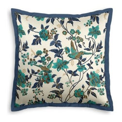 Aqua Floral Bird Custom Euro Sham - Popped collars, statement necklaces, crisply ironed pants  it's the little details that complete a perfectly tailored look. And the sharp contemporary edging of the Tailored Euro Sham will do just that for your bed.  We love it in this stunning hand blockprinted chinoiserie-esque floral and bird motif in blue and turquoise with shimmery hints of gold.