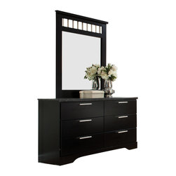 Standard Furniture - Standard Furniture Atlanta 6-Drawer Dresser with Mirror in Ebony Black - Clean and lean with in-the-moment details, Atlanta bedroom has a forward thinking modern energy that's all about today's fast-paced lifestyle.
