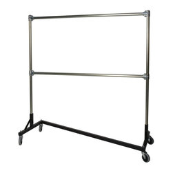 "Quality Fabricators - Z-Rack - Heavy Duty 60"" Long Base Double Rail w/ 60"" Uprights Black - This Z-Rack is designed to hold up to 500 lbs of apparel, while maximizing all five feet of length. And because the two rows are placed on top of each other, the rack will not tip under a heavy load."