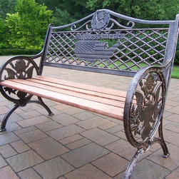 Oakland Living - God Bless America Bench w Cast Iron and Wood - Color: Antique BronzeMade of Durable Cast Iron and Wood Construction. Easy to follow assembly instructions and product care information. Stainless steel or brass assembly hardware. Fade, chip and crack resistant. 1 year limited. Lightweight and constructed of durable rust free cast aluminum and wood. Hardened powder coat finish in Antique Bronze for years of beauty. Pictured in Antique Bronze. Some assembly required. 50 in. W x 24 in. L x 39 in. H (120 lbs.)This bench will be a beautiful addition to your patio, balcony or outdoor entertainment area. Our Benches are perfect for any small space, or to accent a larger space.