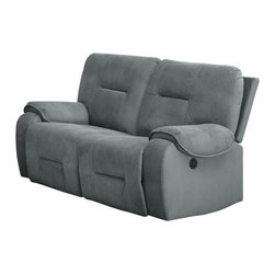 Homelegance - Homelegance Bensonhurst Power Double Reclining Loveseat in Cool Blue Grey Fabric - Ease into joyous comfort with the Bensonhurst collection. This power motion group gently reclines with the push of a button. Overstuffed seating, back and arms are covered in a cool blue grey imprinted fabric. Combined with your personal decor, this comfortable seating group will blend effortlessly in your living room.