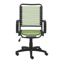 "Bradley Bungie Office Chair-Grn/Grblk - Extra strong bungie cord loops Soft polypropylene armrests Powder epoxy coated steel frame High back with tilt, swivel, gas lift and nylon casters Locks in upright and back positionSeat height: 17.5"" - 23"""